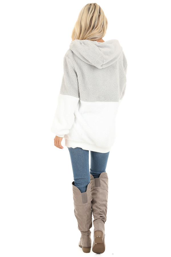 Marshmallow and Smoke Color Block Fluffy Hooded Sweater back full body