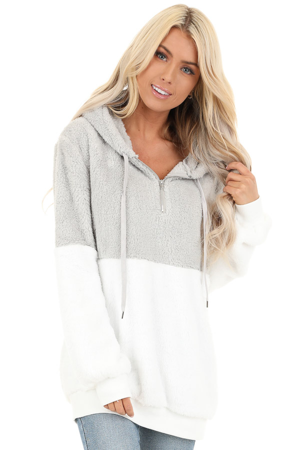 Marshmallow and Smoke Color Block Fluffy Hooded Sweater front close up