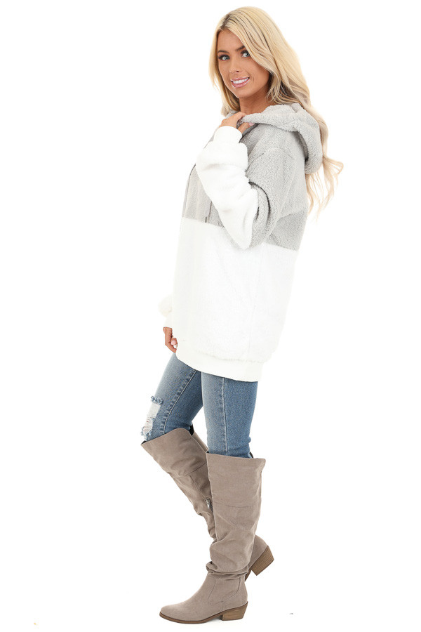 Marshmallow and Smoke Color Block Fluffy Hooded Sweater side full body