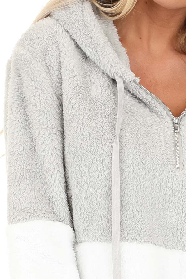 Marshmallow and Smoke Color Block Fluffy Hooded Sweater detail