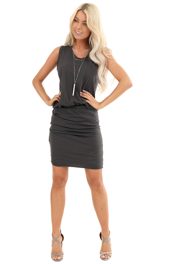 Charcoal Tank Dress with Ruched Skirt and Gathered Waist front full body