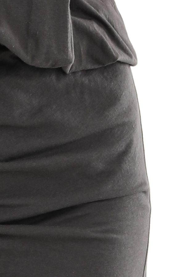 Charcoal Tank Dress with Ruched Skirt and Gathered Waist detail