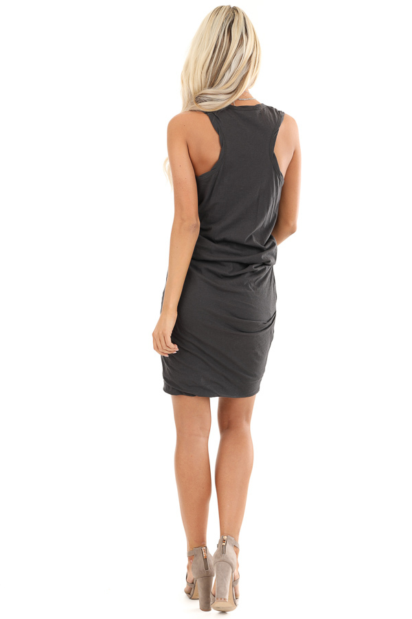 Charcoal Tank Dress with Ruched Skirt and Gathered Waist back full body