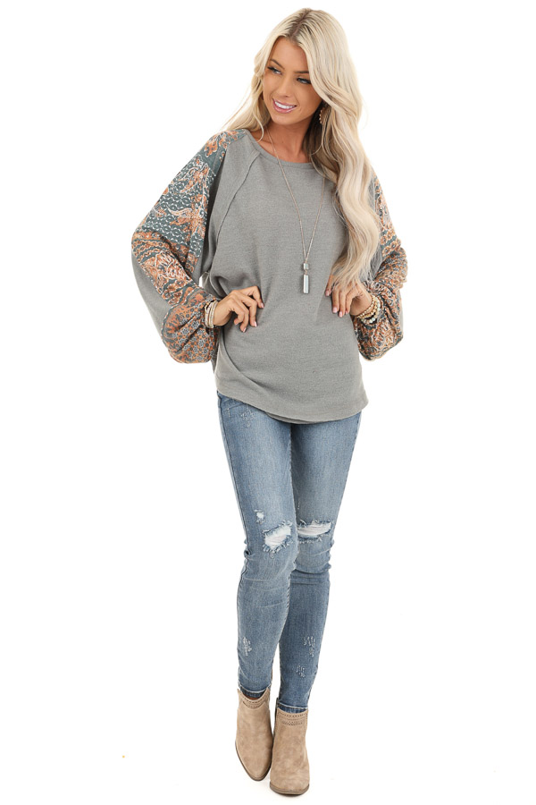 Faded Olive Knit Top with Abstract Detail and Bubble Sleeves front full body