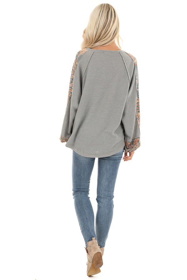 Faded Olive Knit Top with Abstract Detail and Bubble Sleeves back full body