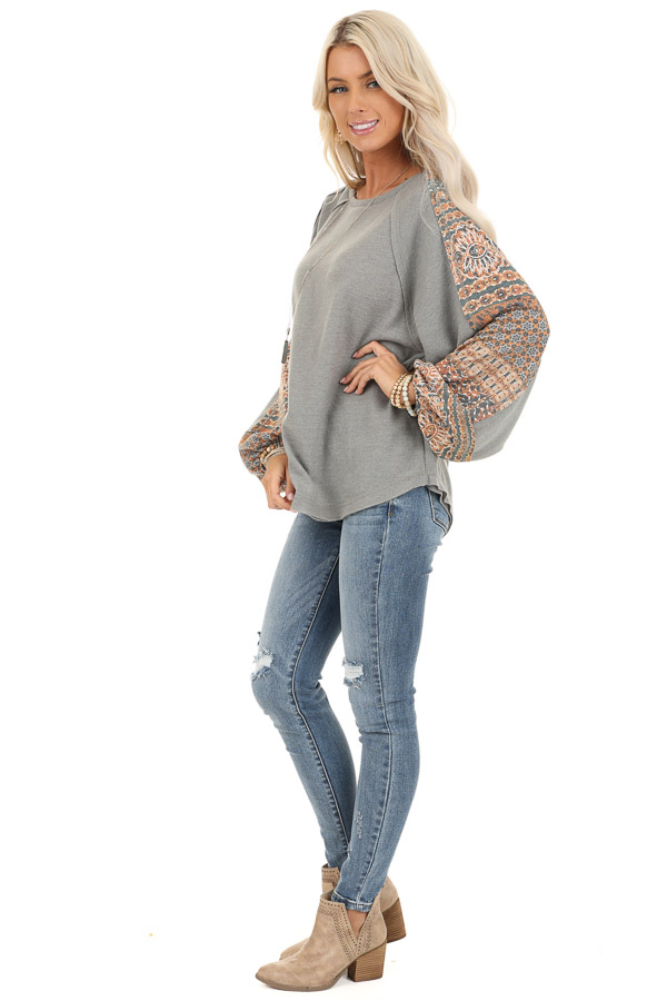 Faded Olive Knit Top with Abstract Detail and Bubble Sleeves side full body