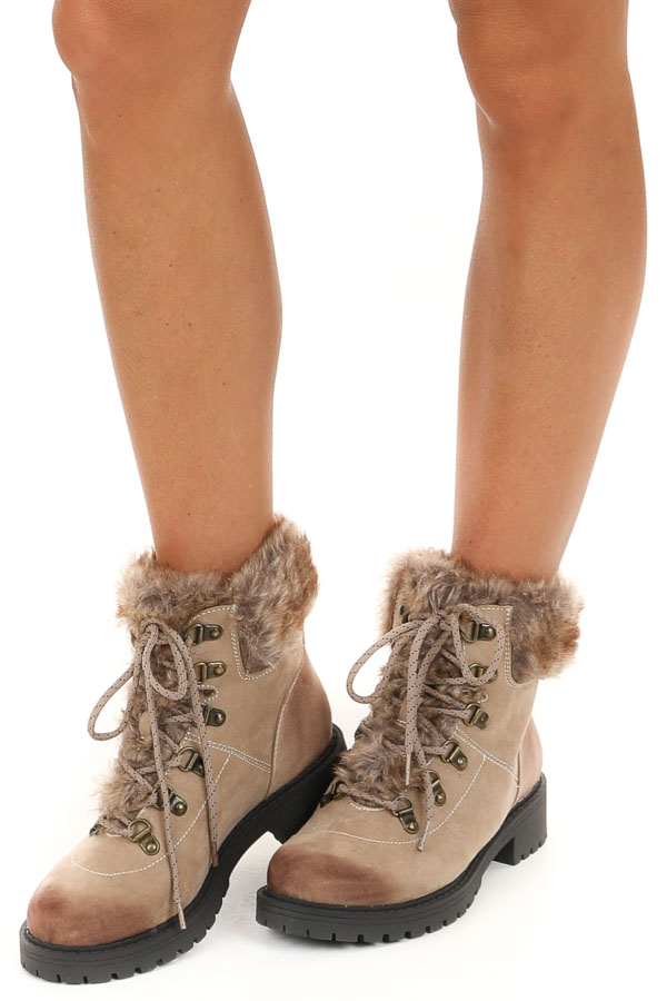 Taupe Suede Booties with Faux Fur Detail and Laces
