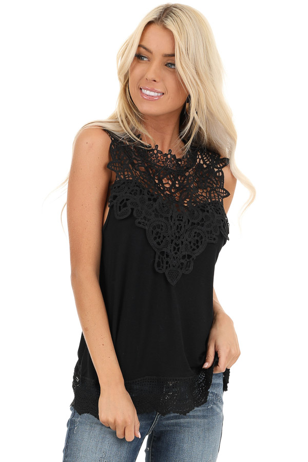 Jet Black Sleeveless Top with Crochet Overlay and Hemline front close up