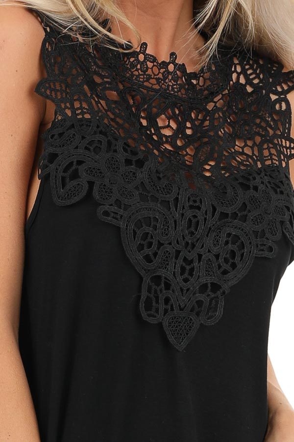 Jet Black Sleeveless Top with Crochet Overlay and Hemline detail