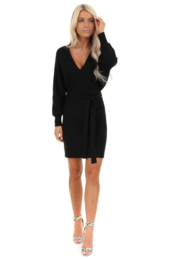 Black Long Sleeve Surplice Sweater Dress with Cutout Detail front full body