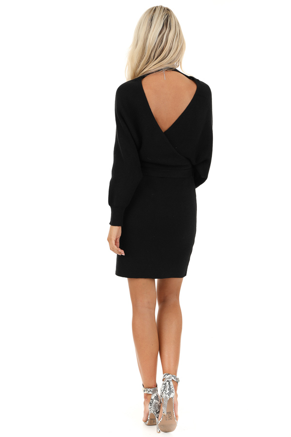 Black Long Sleeve Surplice Sweater Dress with Cutout Detail back full body