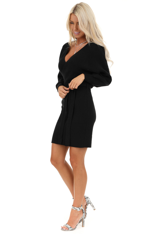 Black Long Sleeve Surplice Sweater Dress with Cutout Detail side full body