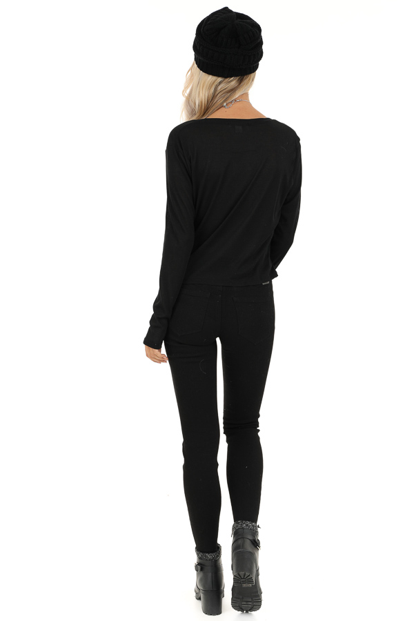 Black Long Sleeve Sheer Knit Top with Twist Detail back full body