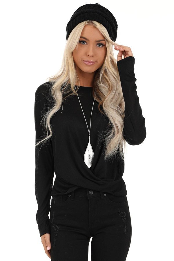 Black Long Sleeve Sheer Knit Top with Twist Detail front close up