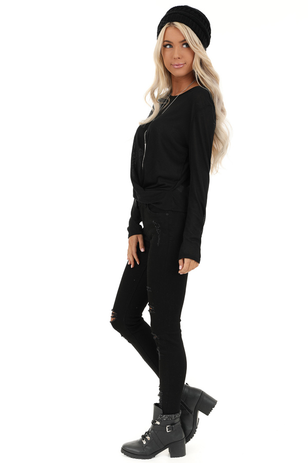 Black Long Sleeve Sheer Knit Top with Twist Detail side full body