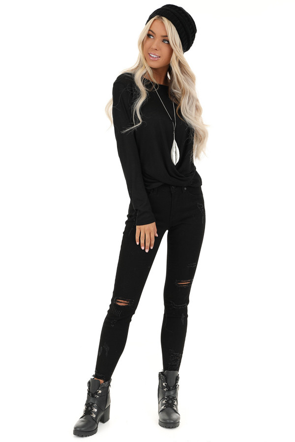 Black Long Sleeve Sheer Knit Top with Twist Detail front full body