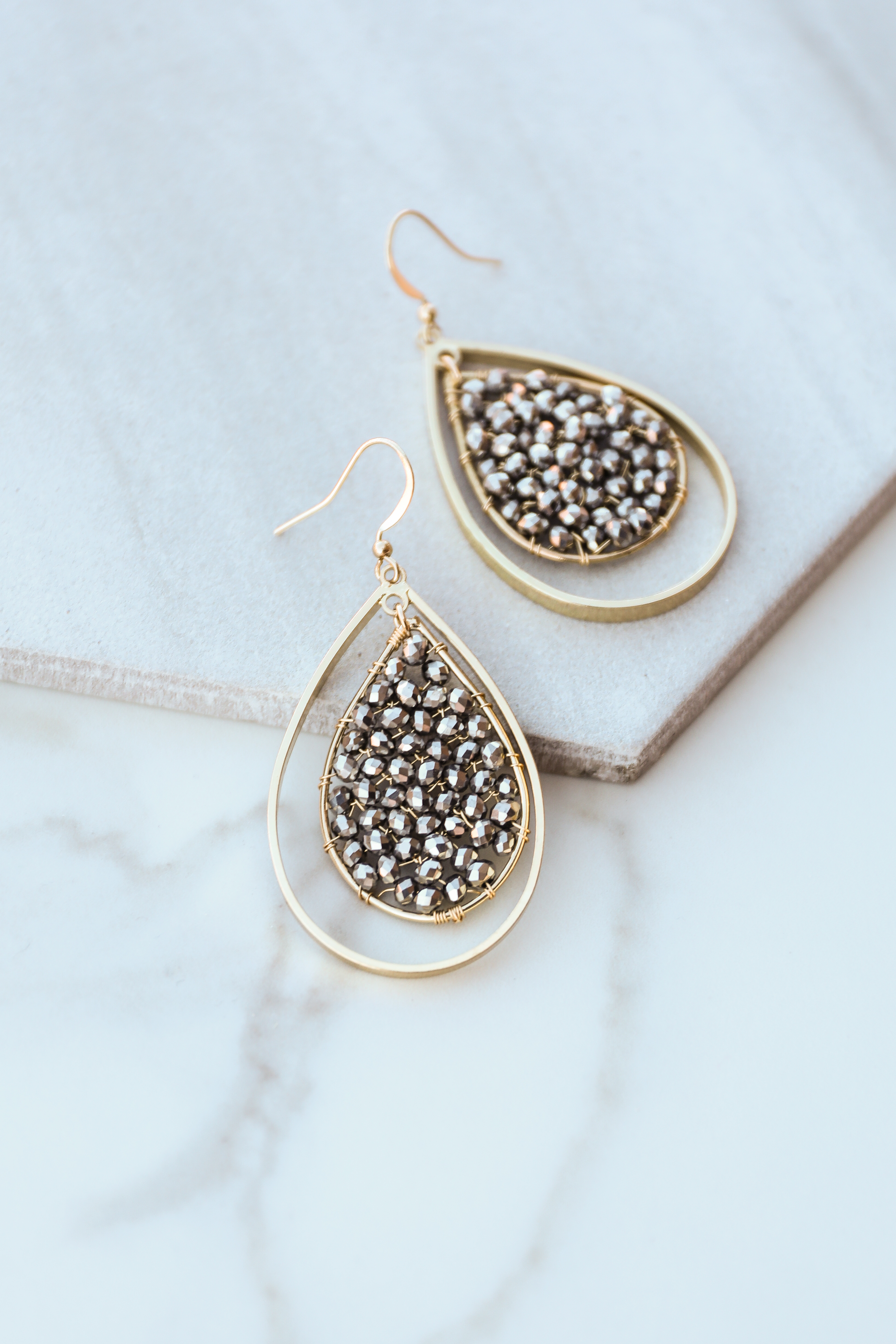 Gold and Grey Beaded Double Tear Drop Dangle Earrings