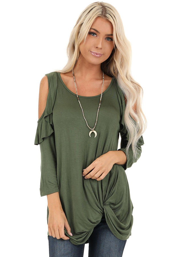 Olive Cold Shoulder Top with Ruffle Details and Front Twist front close up