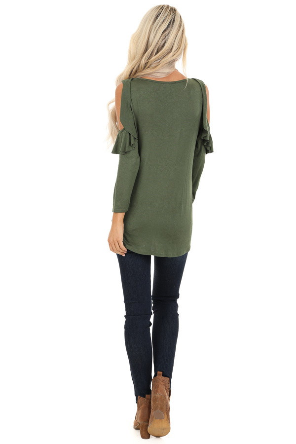Olive Cold Shoulder Top with Ruffle Details and Front Twist back full body