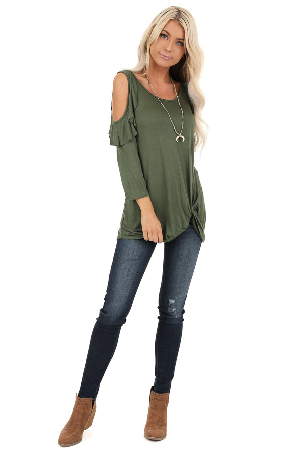 Olive Cold Shoulder Top with Ruffle Details and Front Twist front full body