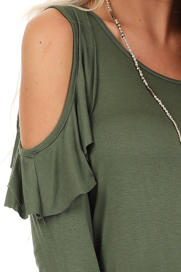 Olive Cold Shoulder Top with Ruffle Details and Front Twist detail