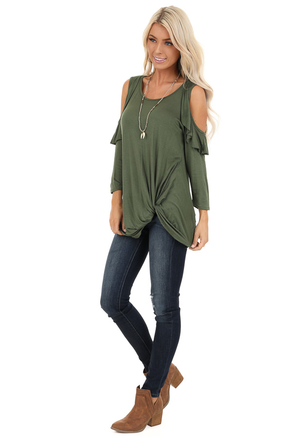 Olive Cold Shoulder Top with Ruffle Details and Front Twist side full body