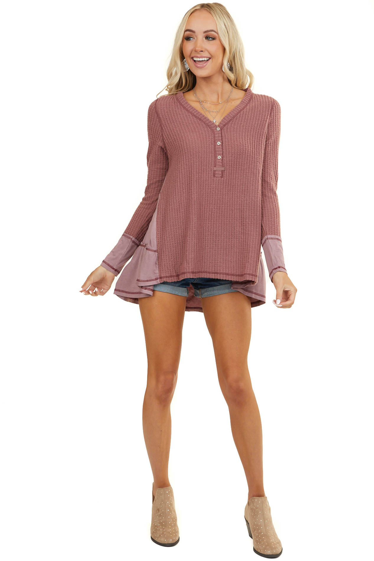 Mauve Long Sleeve Knit Top with Back Layered Contrast