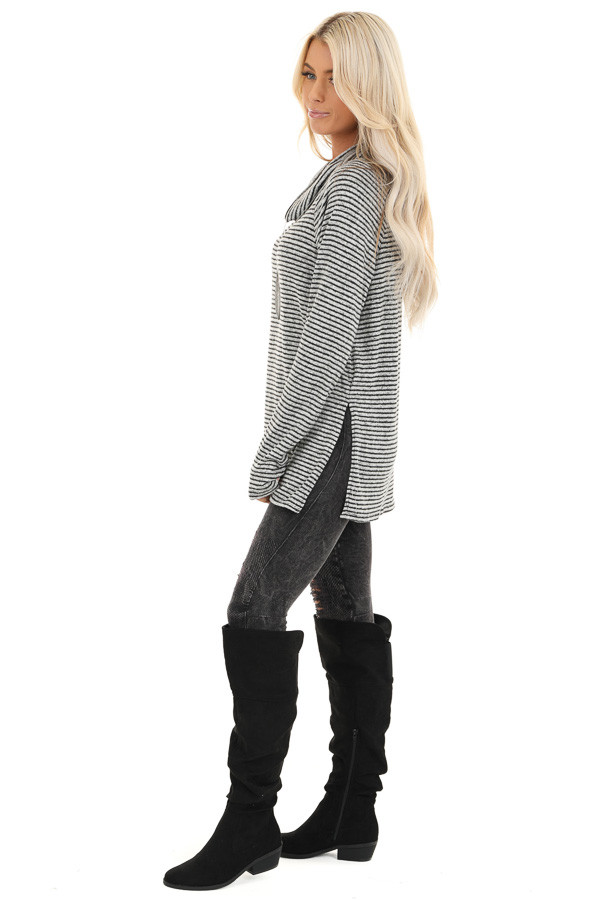 Coal and Smoke Striped Long Sleeve Cowl Neck Top side full body
