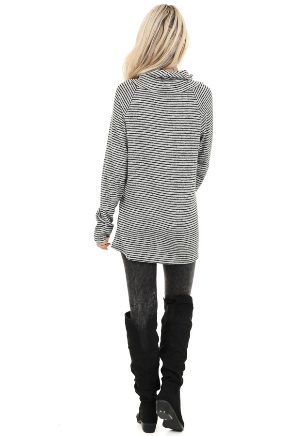 Coal and Smoke Striped Long Sleeve Cowl Neck Top back full body