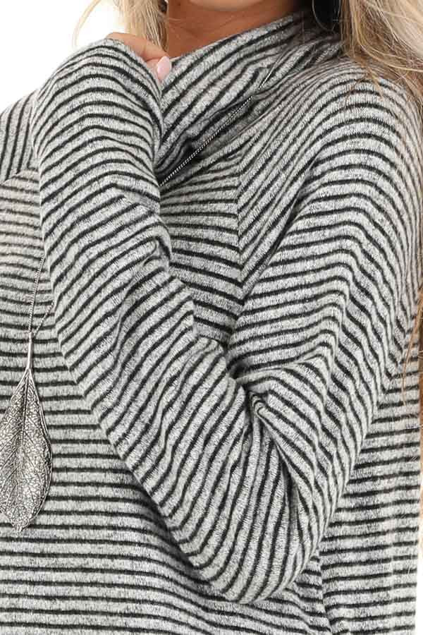 Coal and Smoke Striped Long Sleeve Cowl Neck Top detail