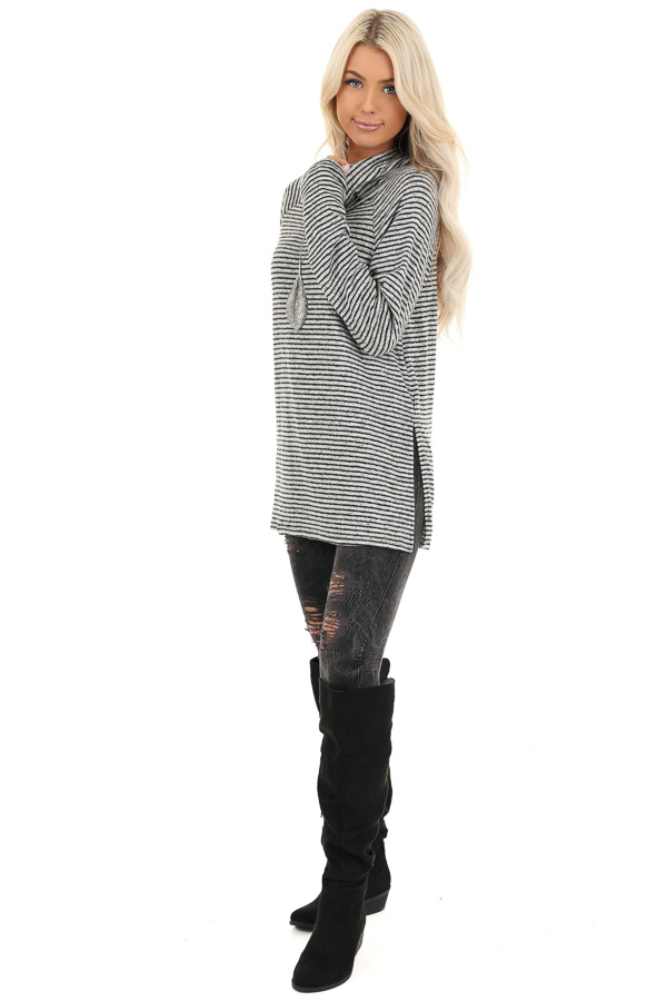 Coal and Smoke Striped Long Sleeve Cowl Neck Top front full body