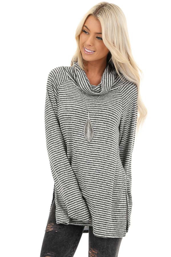 Coal and Smoke Striped Long Sleeve Cowl Neck Top front close up
