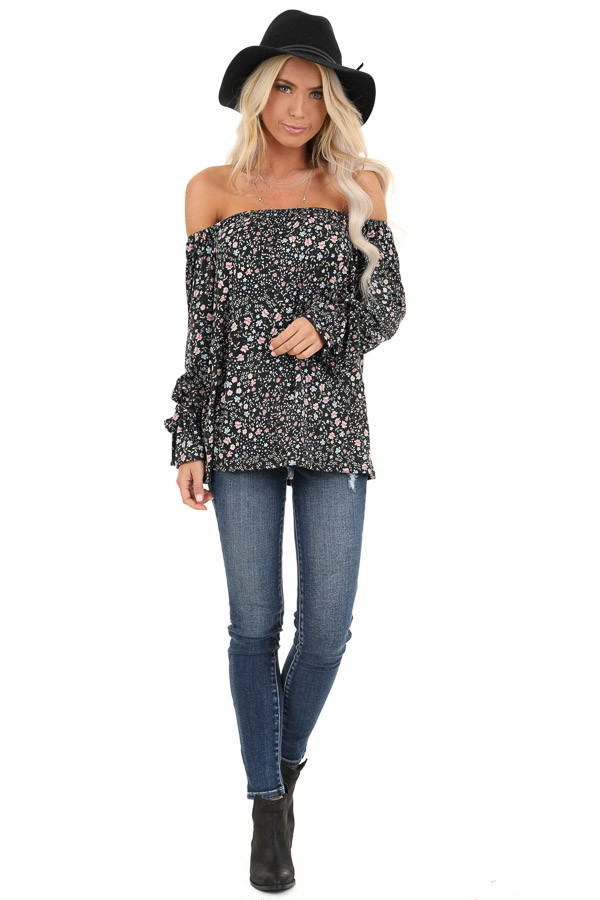 Black Floral Print Off Shoulder Top with Wrist Tie Details front full body