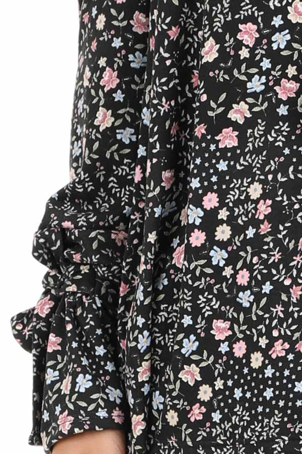 Black Floral Print Off Shoulder Top with Wrist Tie Details detail