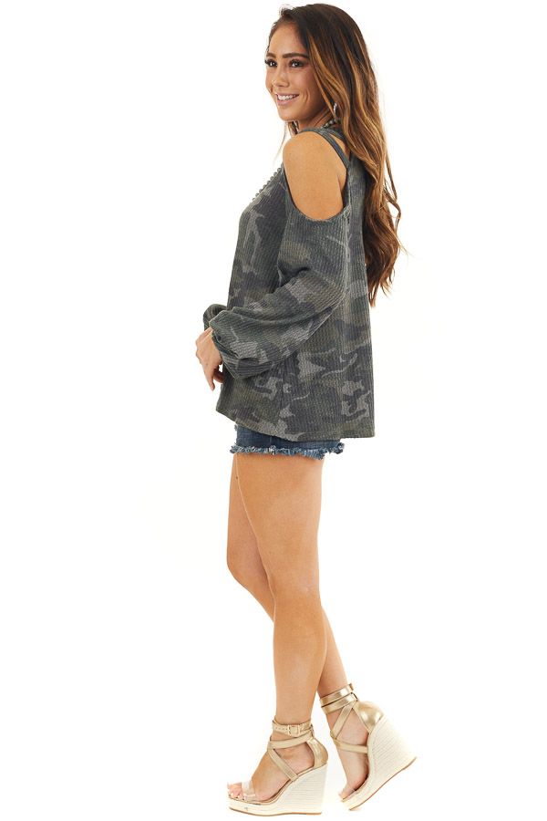 Forest Green Camo Print Long Sleeve Cold Shoulder Top side full body