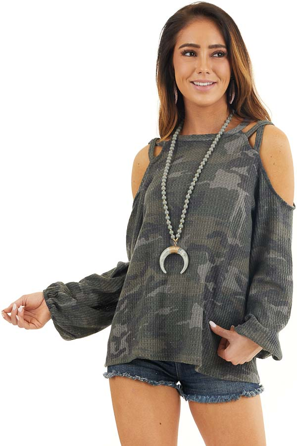 Forest Green Camo Print Long Sleeve Cold Shoulder Top front close up