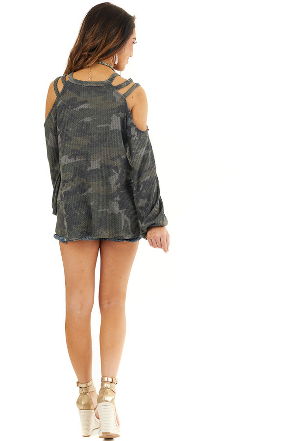 Forest Green Camo Print Long Sleeve Cold Shoulder Top back full body