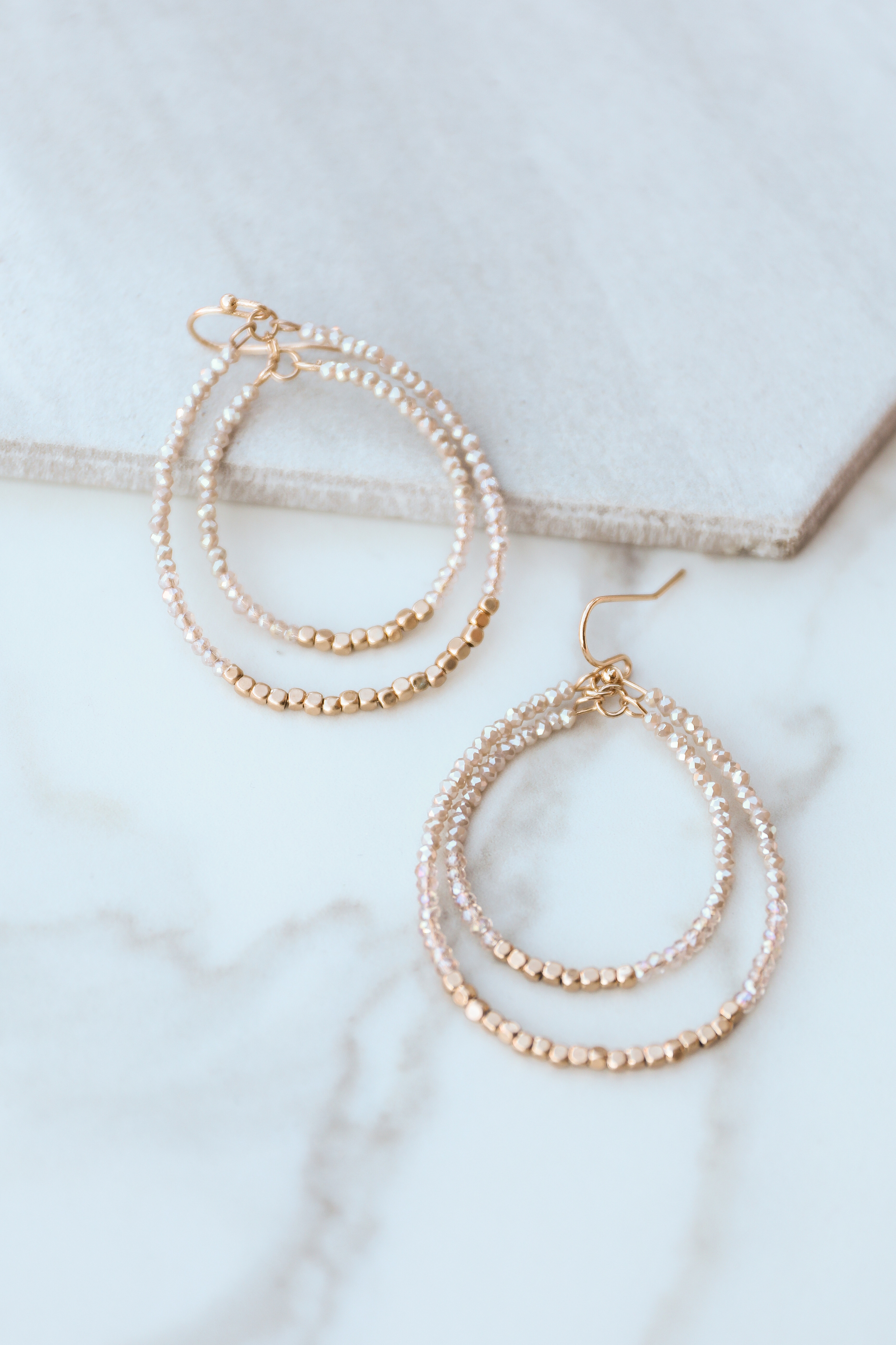 Gold and Champagne Beaded Double Tear Drop Earrings