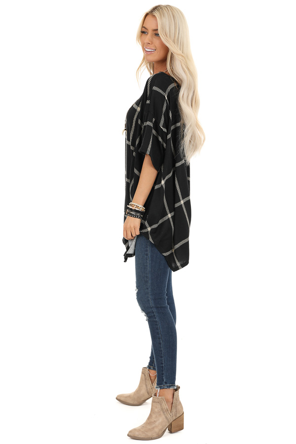 Midnight Black Window Pane Plaid Short Sleeve Knit Top side full body