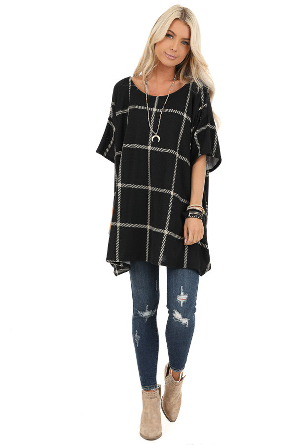 Midnight Black Window Pane Plaid Short Sleeve Knit Top front full body