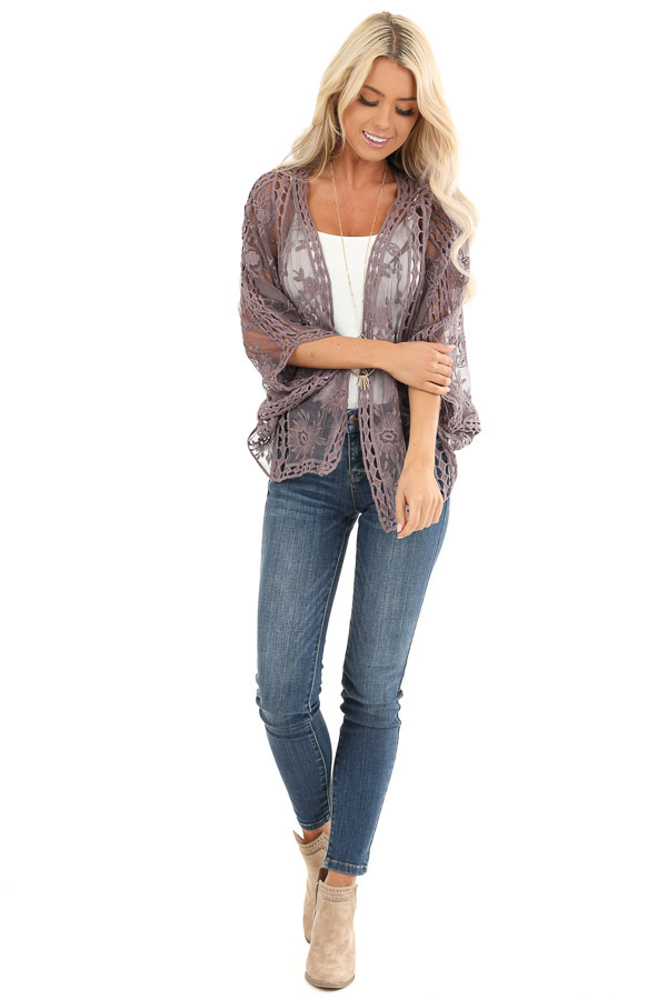 Dusty Lavender 3/4 Sleeve Embroidered Lace Kimono front full body