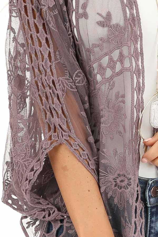 Dusty Lavender 3/4 Sleeve Embroidered Lace Kimono detail