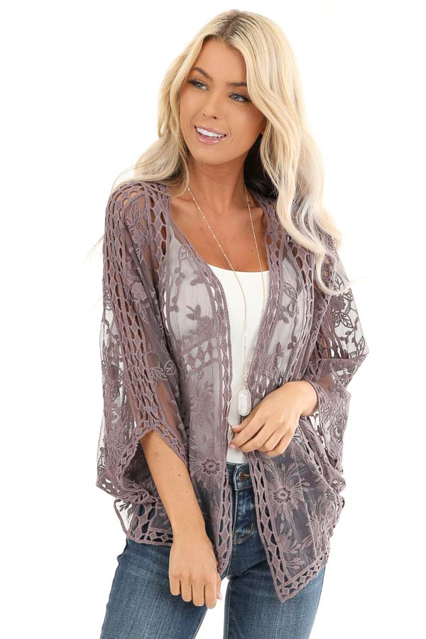 Dusty Lavender 3/4 Sleeve Embroidered Lace Kimono front close up