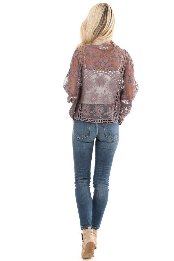 Dusty Lavender 3/4 Sleeve Embroidered Lace Kimono back full body