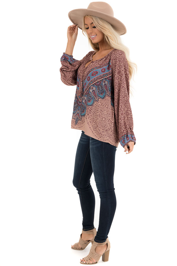 Cinnamon Multiprint Long Sleeve Peasant Top with Front Tie side full body