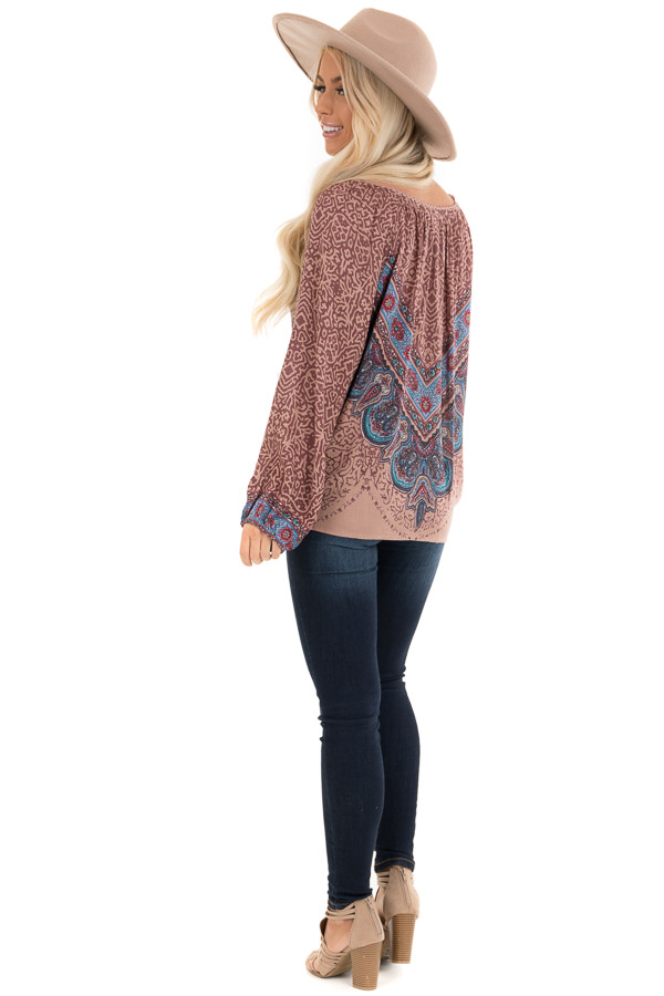 Cinnamon Multiprint Long Sleeve Peasant Top with Front Tie back full body