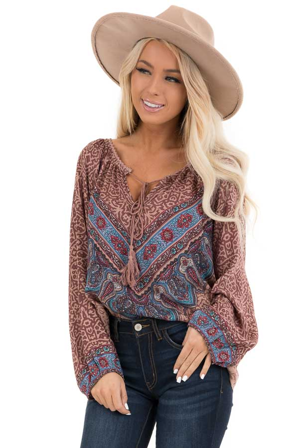 Cinnamon Multiprint Long Sleeve Peasant Top with Front Tie front close up