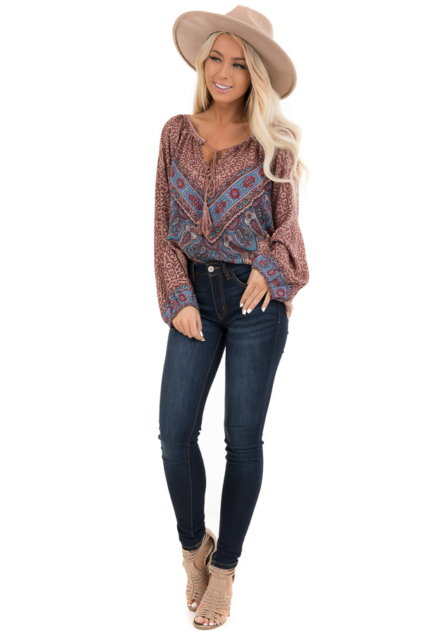 Cinnamon Multiprint Long Sleeve Peasant Top with Front Tie front full body