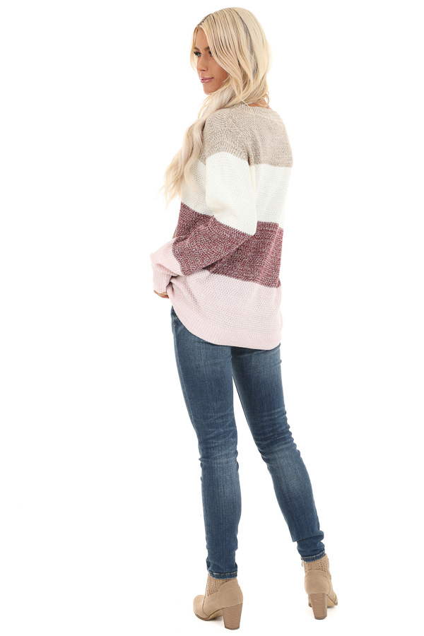 Mauve Multi Colored Striped Long Sleeve Knit Sweater front full body