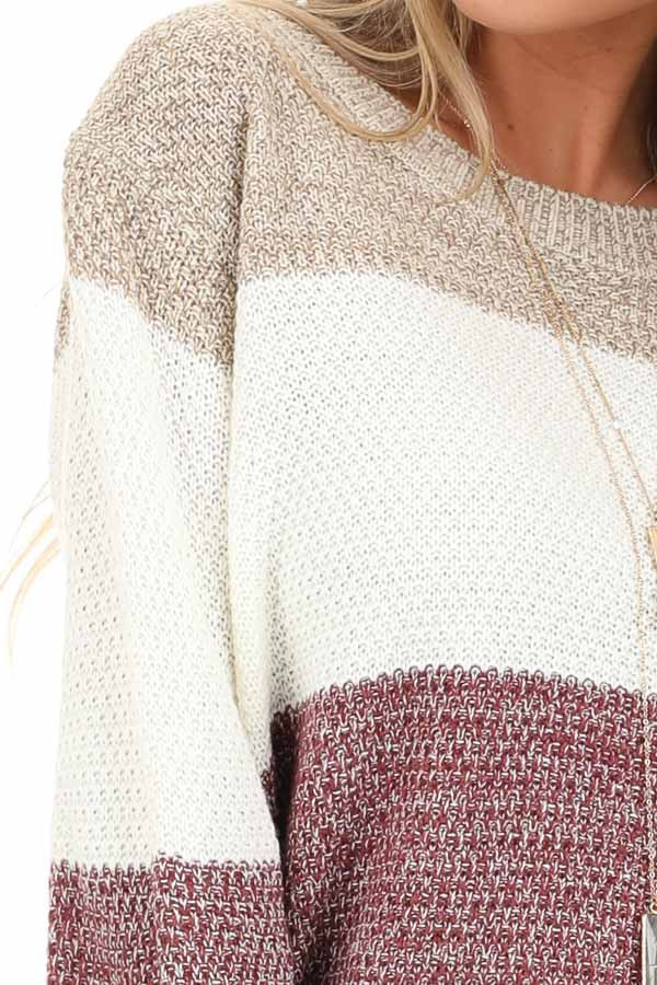 Mauve Multi Colored Striped Long Sleeve Knit Sweater detail